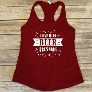 I Give Into Beer Pressure - red fitted tank top